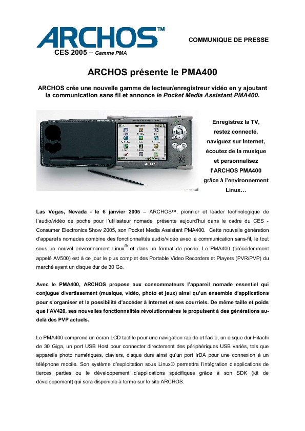 http://www.archos.com/corporate/press/press_releases/Archos_PMA400_fr.070105.pdf