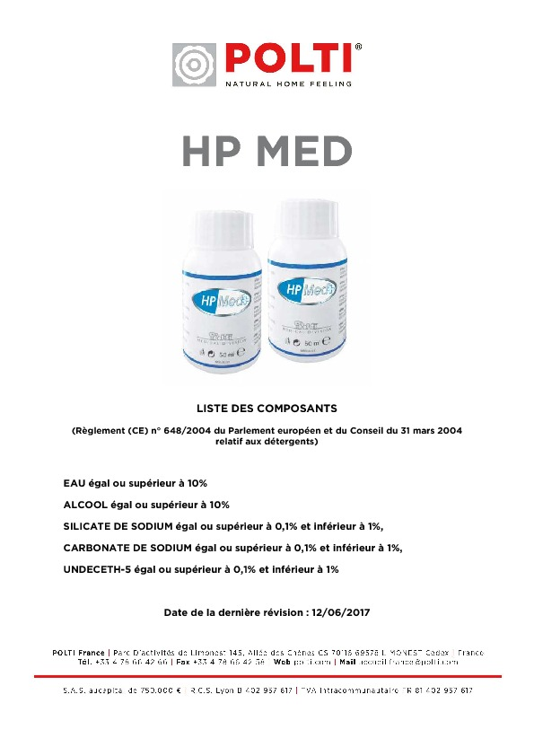 http://www.polti.fr/wordpress/wp-content/uploads/2017/08/Liste-des-composants-HPMed.pdf
