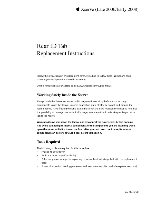 http://manuals.info.apple.com/en_US/Xserve_Early2008_DIY_RearIDTab.pdf